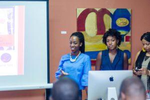 Eunice Onwona addressing attendees at a journalism training workshop